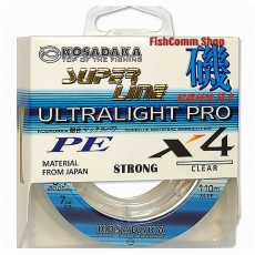 Плетеный шнур Kosadaka Super Line PE X4 Ultralight Pro 0.05 мм. 110 м. Clear